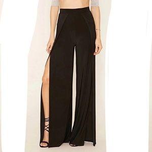 Pants - Black double slit maxi pants loose harem wide leg